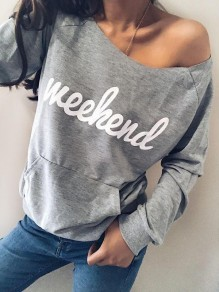 Graue Weekend Print Taschen One Shoulder Schulterfrei Oversized Lässige Pullover Sweatshirt Damen