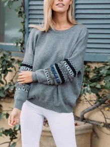 Dark Grey Striped Ruffle Tassel Round Neck Long Sleeve Casual Sweatshirt