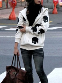White Skull Zipper Print Fashion Hooded Sweatshirt