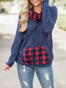 Navy Blue Checkered Pockets Drawstring Pile Collar Long Sleeve Casual Sweatshirt