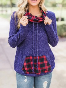 Purple Checkered Pockets Drawstring Pile Collar Long Sleeve Casual Sweatshirt