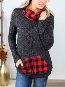 Black Checkered Pockets Drawstring Pile Collar Long Sleeve Casual Sweatshirt
