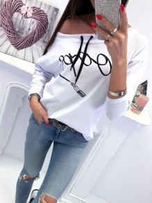 White Print Drawstring Round Neck Fashion Pullover Sweatshirt