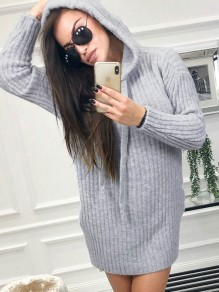 Grey Drawstring Knitwear Hooded Long Sleeve Casual Sweatshirt