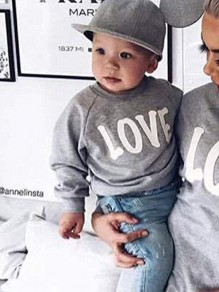Grey Letter Print Round Neck Long Sleeve Baby Going out Sweatshirt