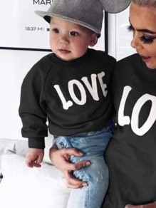 Black Letter Print Round Neck Long Sleeve Baby Going out Sweatshirt