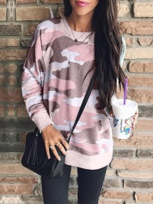 Pink Camouflage Long Sleeve Round Neck Casual Sweatshirt