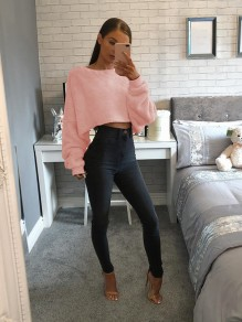 Pink Round Neck Long Sleeve Fashion Pullover Sweatshirt