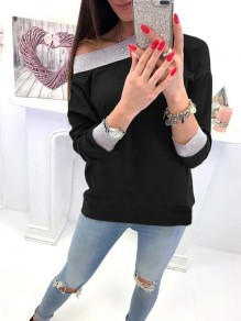 Black Patchwork Asymmetric Shoulder Long Sleeve Casual Sweatshirt