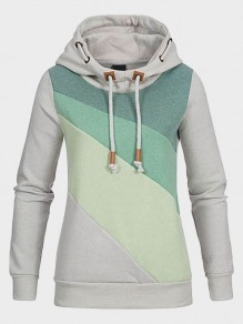 Green Patchwork Pockets Drawstring Hooded Long Sleeve Casual Sweatshirt