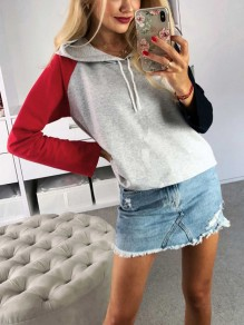 Grey Patchwork Drawstring Long Sleeve Fashion Hooded Sweatshirt