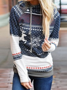 Blue Floral Polka Dot Elk Snowflake Print Hooded Long Sleeve Casual No?l Sweatshirt