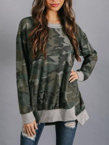 Army Green Camouflage Double Zipper Long Sleeve Oversized Casual Pullover Sweatshirt
