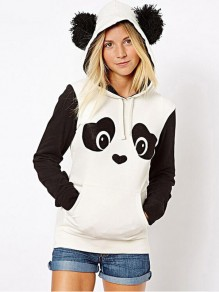 White Black Sleeve Panda Print Panda Ears Pockets Drawstring Hooded Long Sleeve Pullover Sweater