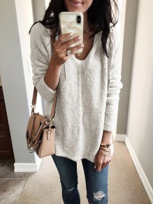 White Drawstring V-neck Long Sleeve Fashion Hooded Sweatshirt
