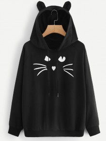 Black Cat Print Cat Ears Drawstring Pockets Hooded Long Sleeve Cute Casual