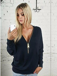 Black Plain Zipper Long Sleeve Deep V-neck Casual Sweatshirt