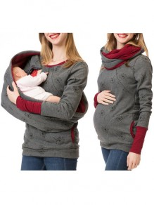Dark Grey Flowers Print Pockets Round Neck Long Sleeve Casual Maternity Sweatshirt