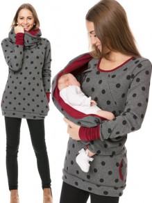 Dark Grey Polka Dot Print Pockets Round Neck Long Sleeve Casual Maternity Sweatshirt