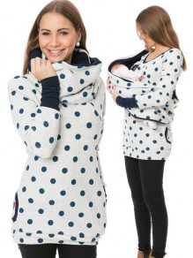 Light Grey Polka Dot Print Pockets Round Neck Long Sleeve Casual Maternity Sweatshirt