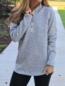 Grey Studded High Neck Long Sleeve Fashion Pullover Sweatshirt