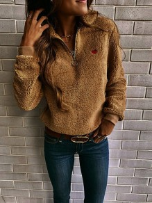 Khaki Heart Embroidery Zipper Long Sleeve Valentine's Day Casual Sweatshirt