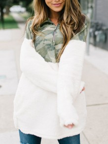 White Camouflage Print Zipper Turndown Collar Long Sleeve Sweatshirt