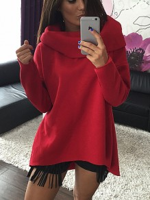 Red Print High Neck Long Sleeve Fashion Pullover Sweatshirt