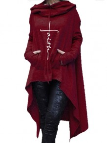 Red Drawstring Pockets Draped High-Low Hooded Long Sleeve Casual Sweatshirt