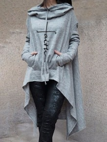Grey Drawstring Pockets Draped High-Low Hooded Long Sleeve Casual Sweatshirt
