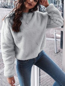 Grey Plain Round Neck Going out Sweet Pullover Sweatshirt