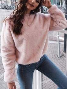 Pink Plain Round Neck Going out Sweet Pullover Sweatshirt