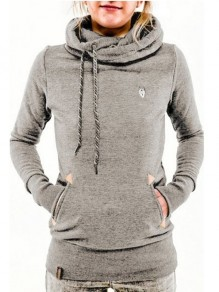 Light Grey Drawstring Print Pockets Hooded Long Sleeve Casual Sweatshirt