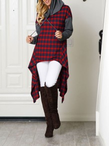 Red Plaid Irregular Drawstring Hooded High-low Cowl Neck Long Sleeve Casual Sweatshirt Dress