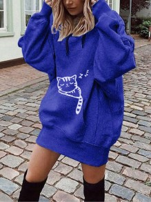 Blue Cat Print Pockets Drawstring Hooded Long Sleeve Casual Sweatshirt