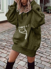 Green Cat Print Pockets Drawstring Hooded Long Sleeve Casual Sweatshirt