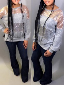 Grey Striped Sequin Glitter Long Sleeve Sparkly Casual Pullover Sweatshirt