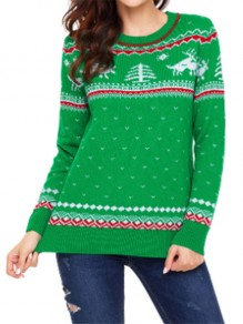 Green Floral Print Round Neck Casual Christmas Sweatshirt