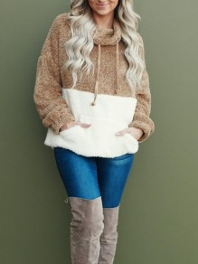 Khaki-White Patchwork Pockets Cowl Neck Popcorn Pile Teddy Casual Pullover Sweatshirt