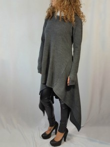 Grey Pleated High-Low Hooded Rosatic Witch Long Sleeve Casual Sweatshirt