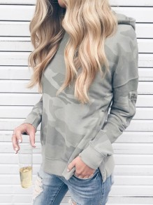Grey Camouflage Print Hooded Long Sleeve Casual Sweatshirt