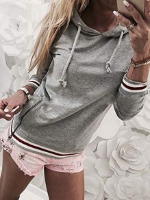 Grey Striped Drawstring Zipper Hooded Long Sleeve Casual Sweatshirt