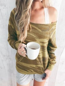 Yellow Camouflage Irregular One-Shoulder Pockets Oversized Casual Pullover Sweatshirt