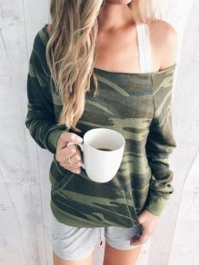 Green Camouflage Irregular One-Shoulder Pockets Oversized Casual Pullover Sweatshirt