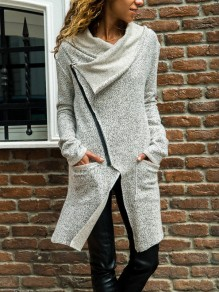 Light Grey Pockets Zipper Irregular Long Sleeve Casual Sweatshirt