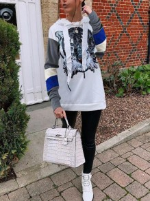 White Patchwork Tiger Sequin Long Sleeve Casual Hooded Pullover Sweatshirt