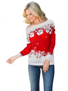 Red Snowflake Embroidery One-shoulder Long Sleeve Christmas Cute Sweatshirt