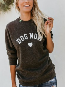 "Dark Grey""DOG MOM""Print Round Neck Long Sleeve Sweatshirt"