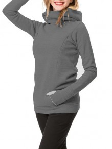 Dark Grey Pockets Zipper Hooded Long Sleeve Fashion Maternity Sweatshirt