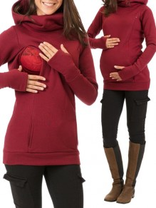 Burgundy Pockets Zipper Hooded Long Sleeve Fashion Maternity Sweatshirt